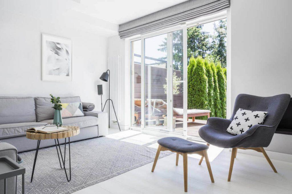 Family room with open patio doors